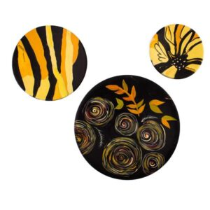Iranian Set of 3 Pottery Plate Model Yellow