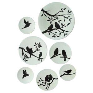 Iranian Set of 7 Pottery Plate Model Sparrow