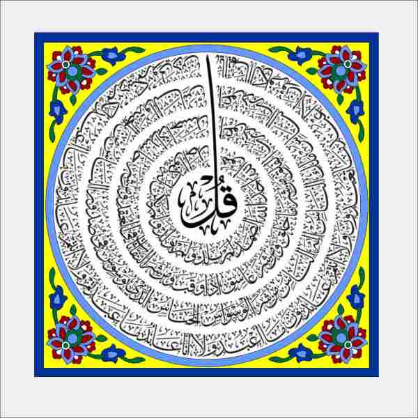 Islamic Muslim Ceramic Tile Tableau Model Chahar Qul