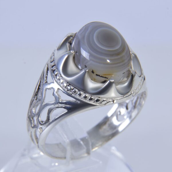 Islamic Sulemani Gray Agate Men's Silver Ring