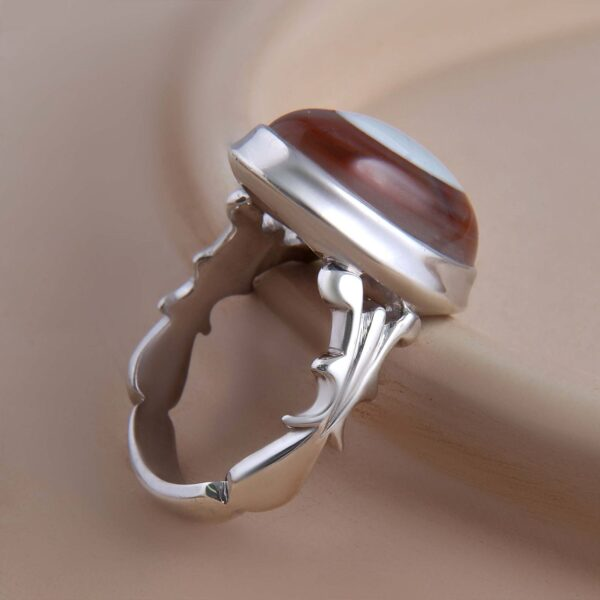 Islamic Sulemani Red Agate Men's Silver Ring