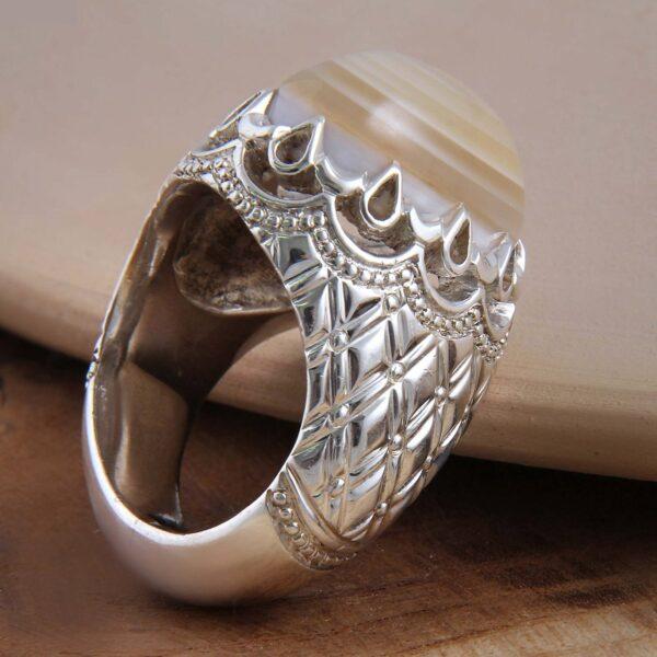 Islamic Sulemani Yellow Akeek Men's Silver Ring