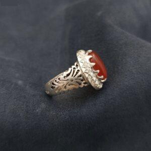 Islamic Yemeni Akeek Men's Silver Ring Model Red02