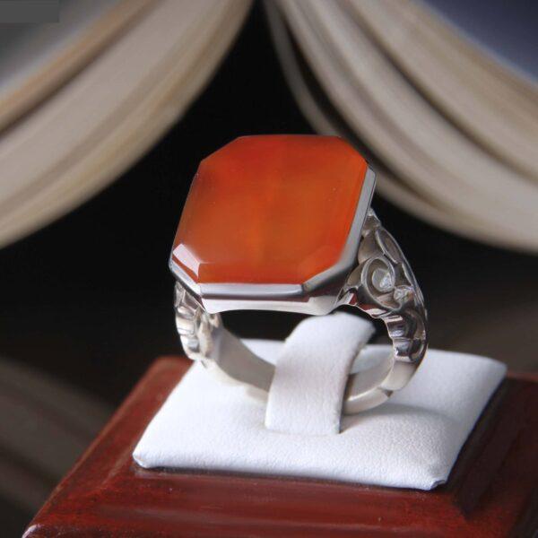 Islamic Yemeni Red agate Men's Silver Ring Model Red