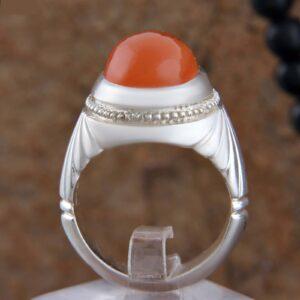 Islamic Yemeni Red agate Men's Silver Ring Model Red01