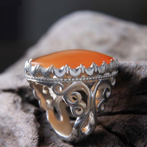 Islamic Yemeni agate Men's Silver Ring Model Orange