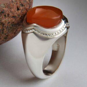 Islamic Yemeni agate Men's Silver Ring Model Red II