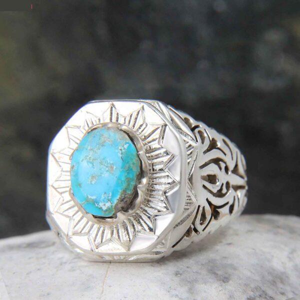 Neyshabouri Firuzeh Men's Silver Ring Model Aram