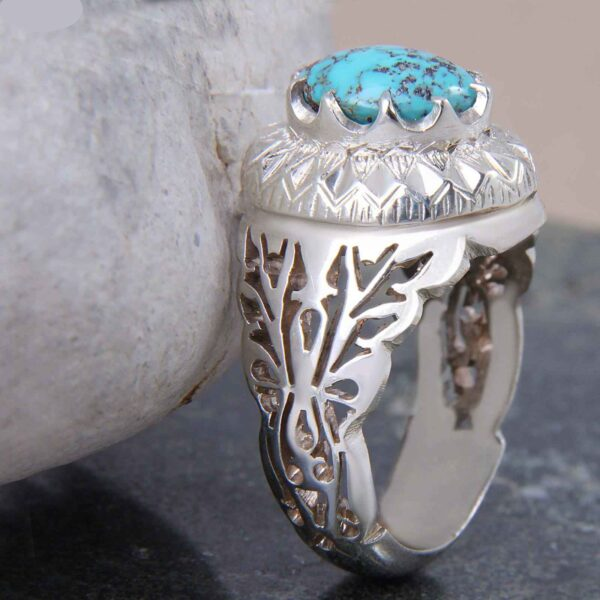 Neyshabouri Firuzeh Men's Silver Ring Model Mahan