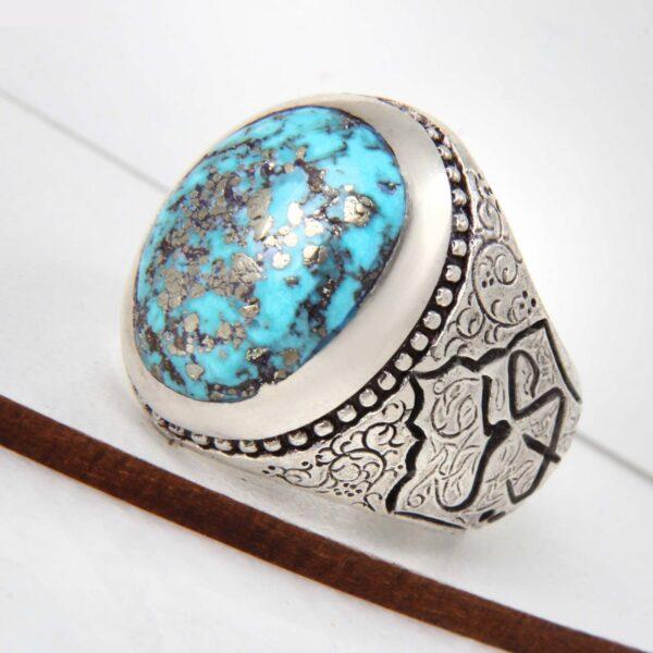Neyshabouri Firuzeh Men's Silver Ring Model Raad