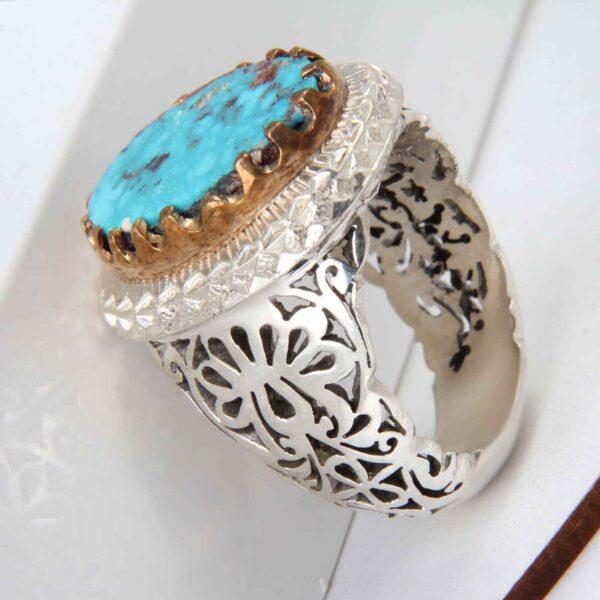 Neyshabouri Firuzeh Men's Silver Ring Model Raad02