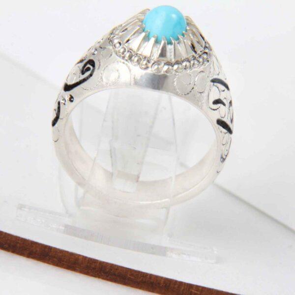 Neyshabouri Firuzeh Men's Silver Ring Model Sarin02
