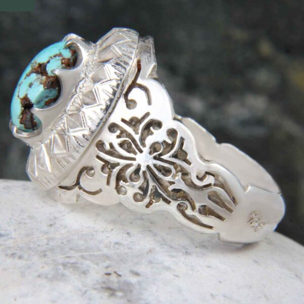 Neyshabouri Firuzeh Men's Silver Ring Model Sun