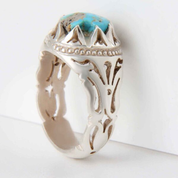 Neyshabouri Firuzeh Men's Silver Ring Model setareh02