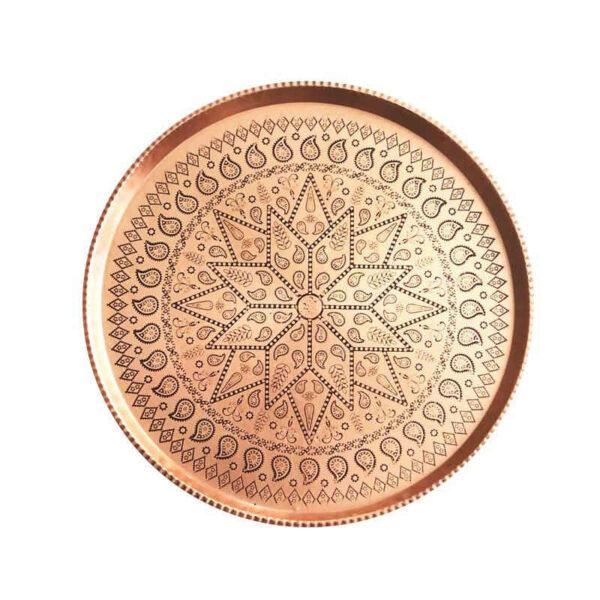 Persian Copper Serving Tea Tray Model Round