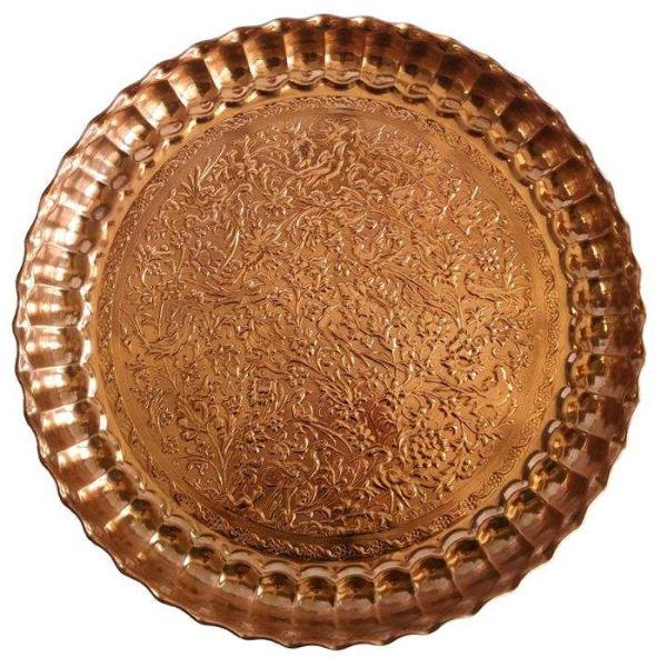Persian Copper Serving Tray Model Flower Hakaki