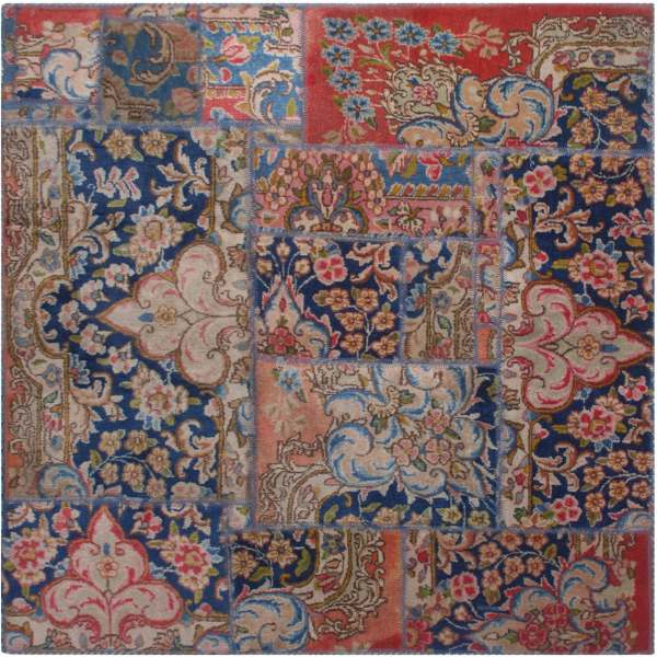 Persian Old Handwoven Wool Collage Rug Model Hami
