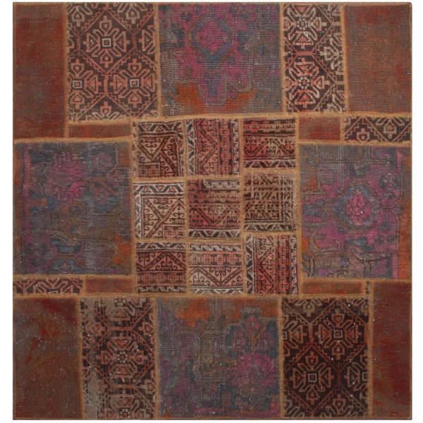 Persian Old Handwoven Wool Collage Rug Model Lida (2)