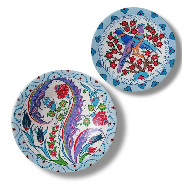 Persian Set of 2 Pottery Plate Model Blossom