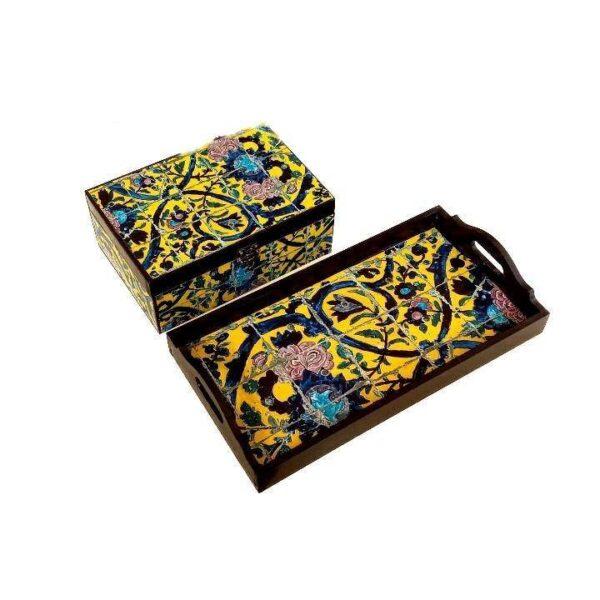 Persian Traditional Wooden Tea Tray & Tea Box