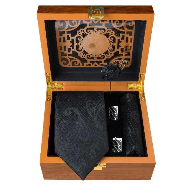 Set of Tie & Handkerchiefs & Cufflinks Model Black II