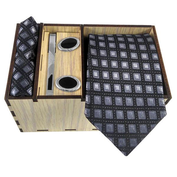 Set of Tie & Handkerchiefs & Cufflinks Model Blue