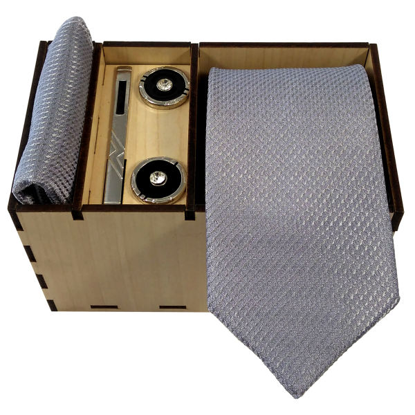 Set of Tie Handkerchiefs & Cufflinks Model Gray