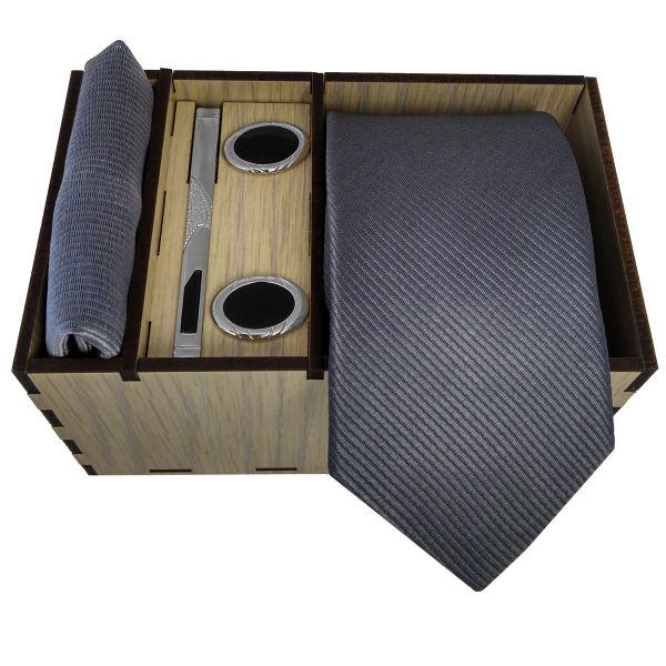 Set of Tie & Handkerchiefs & Cufflinks Model Gray Color