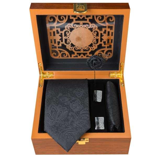 Set of Tie & Handkerchiefs & Cufflinks Model Matte Black