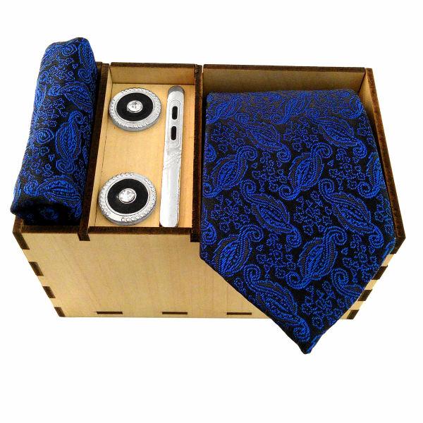 Set of Tie & Handkerchiefs & Cufflinks Model Ocean