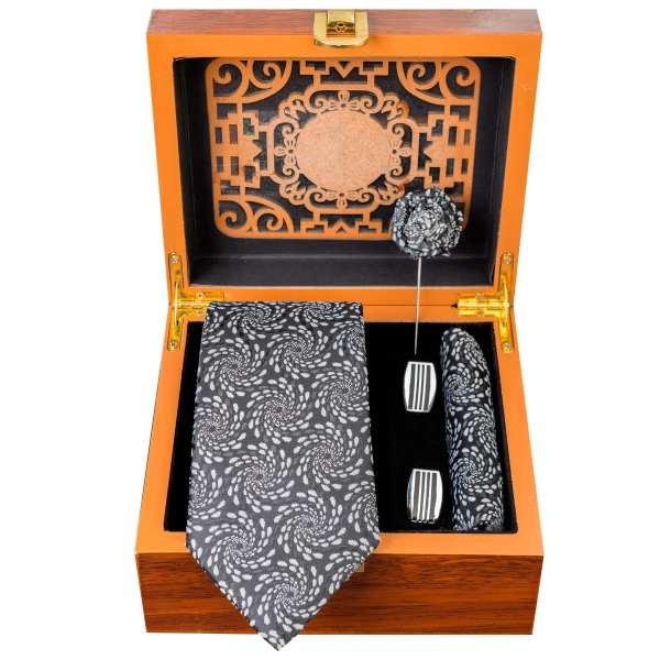 Set of Tie & Handkerchiefs & Cufflinks Model Wave