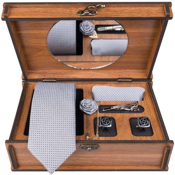 Set of Tie & Handkerchiefs & Cufflinks Model White