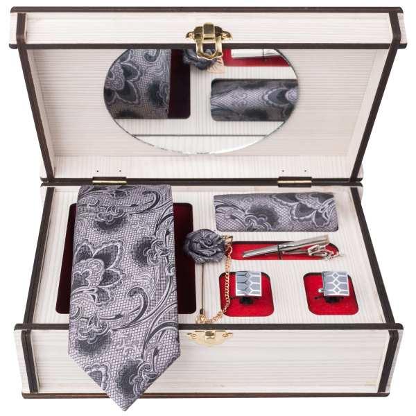 Set of Tie & Handkerchiefs & Cufflinks Model White II